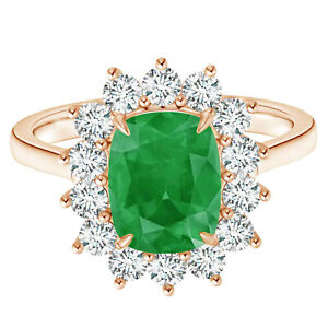 2.50 Cts Radiant Cut 9K Rose Gold Princess Diana Inspired Emerald Ring