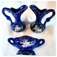 3 pc Set Vintage Miniature Pitchers & Planter Dark Blue Porcelain White Flowers