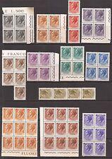 1968/9 TURRITA FLUORESCENTE GOMMA ARABICA 10 BLOCCHI E 3 STRISCE NUOVE MNH**