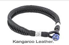 5B-446 HANDMADE Sterling Silver Kangaroo Leather Sport Wristband Men Bracelet.