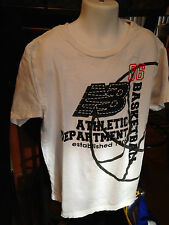 New Balance Boys Basketball T-Shirt Sz 00006000  10 100%Cotton White Euc