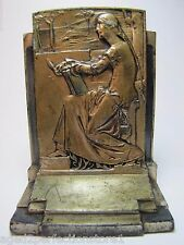 Old MEDITATION c1925 POMPEIAN BRONZE Co Decorative Art Bookend Woman in Thought
