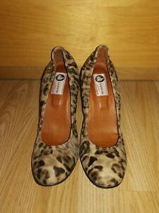 LANVIN Heels Wedges Leopard Print Leather Elasticated Round Toe 40.5 UK 7