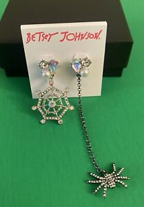New Betsey Johnson Silver Tone Spider & Spider Web Mismatch Drop Earrings