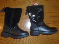NWT toddler girl black boots - size 4. Matalan. Butterfly & flower detail.  1/9