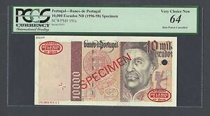 Portugal 10000 Escudos ND(1996-98)  P191s Specimen TDLR N1 Uncirculated