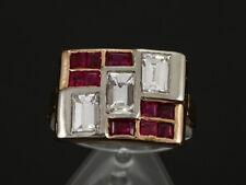 Antiker Rubin Diamant Baguette Ring ca. 2,45ct 585/- Gelbgold & Rotgo 40er Jahre