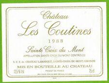 Etiquette de Vin-Sainte Croix du Mont-1988-Château les Coutines-Réf.469