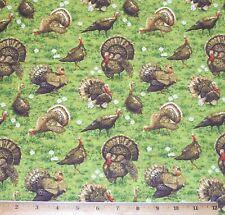 Turkeys in Grass 100% Cotton Fabric Fat Quarter Wildlife Golden Harvest