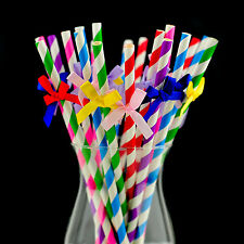 20 X Birthday Party Multicolour Straws With Mix Bows Paper Straw