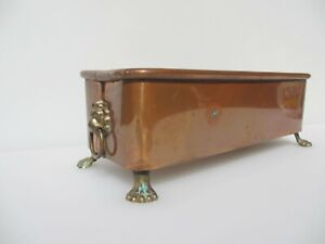 Vintage Copper Trough Tub Planter Plant Pot Antique Old Urn Brass Lion Handles