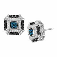 1/2 ct Blue, White & Black Diamond Stud Earrings in 14K White Gold