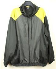 Roundtree & Yorke Men's Black & Yellow Sport Windbreaker Hooded Jacket Size 2XB