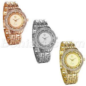 Men's Fashion Luxury Shiny Rhinestone Stainless Steel Band Quartz Wrist Watch