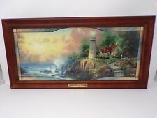 "Thomas Kinkade Stained Glass Panorama Light of Peace lit lighthouse 23"" 418"