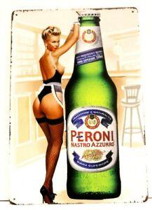 Peroni Italian Beer Tin Metal Pinup Girl Poster Sign Bar Man Cave Vintage Style
