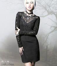 Gothic Punk Rave Lolita Shirt Kleid Spitze Dress das kleine Schwarze 34 36 38 40