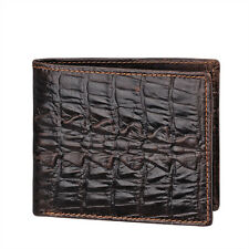 Tail Skin 100% Genuine Crocodile Alligator Bifold Leather Men Dark Coffee Wallet