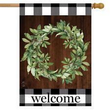 "Farmhouse Wreath Welcome House Flag 28"" x 40"" Everyday Briarwood Lane"