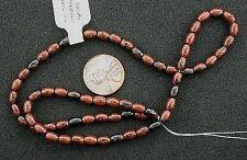 """6x4 Gemstone Mahogany Rice Obsidian Beads 15"""" Strand"""