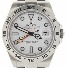 Big Rolex Stainless Steel Explorer II Watch 42mm Orange Hand Oyster White 216570