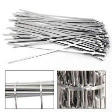 200 Pcs Cable Zip Ties 304 Stainless Steel Exhaust Wrap Coated Metal Locking