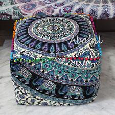 "18"" Square Pouf Cover Elephant Mandala Ottoman Cover 100% Cotton Footstool Cover"