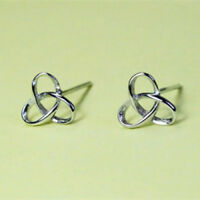 Solid 925 Sterling Silver Plain Celtic Trinity Knot Stud Earrings 8mm Pair