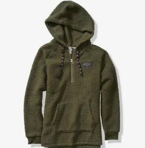 NEW Victoria's Secret PINK Black Friday Sherpa Half Zip Hoodie Olive Green Large