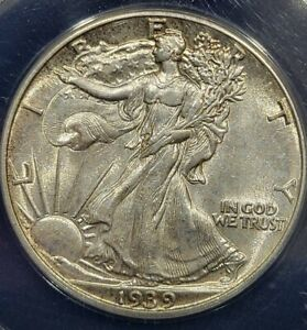 1939 Walking Liberty Half Dollar AU 58 ANACS