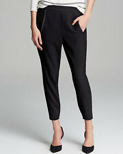 VINCE Satin Piped Black SlouchyTrousers Pants Crop Elasticized ankle Med.NWT$295