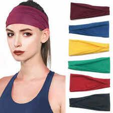 19colors Wide Headband Sweatband Stretch Elastic Sport Yoga Run Solid Hairband