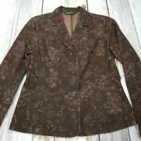 Eddie Bauer Floral Corduroy Jacket Blazer Womens 4 Button Front Cotton Brown