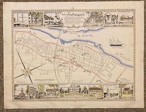 City Of Newburyport MA Rare 1940 Illustrated Map Poster Print Jack Farrell 29X22
