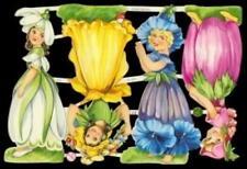 2 SHEETS GNOMES FLOWER GOWN VICTORIAN SCRAPS DECOUPAGE DIE CUT SCRAP PAPER