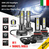 2 coppie 55W 9005/HB3 & H1 20000LM LED Fari Lampade Lampadine Kit Bianco 6000K