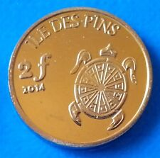 Ile des Pins - New Caledonia 2 francs 2014 UNC Turtle Shell unusual coin