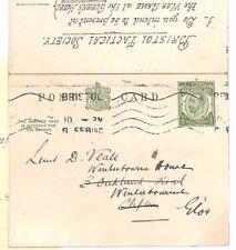 A1911.0 GB CARTOLERIA postale * Bristol Tactical SOC * Gioco di Guerra Militare cartolina di risposta