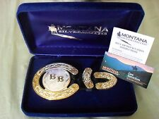 """""""Montana Silversmiths"""" 3 Pc """"Horseshoe Buckle Set"""" New Complete in Box/Tags L@@K"""