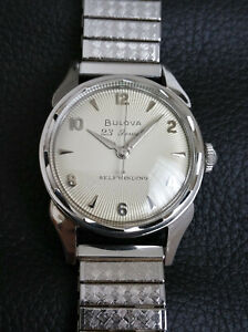 Vintage Bulova 23j automatic watch in steel, sunburst dial,10BPAC movement, runs