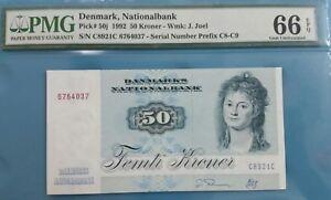 1992 Denmark 50 Kroner PMG66 EPQ GEM UNC <P-50j>
