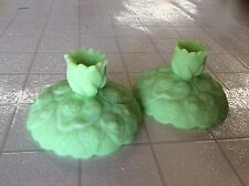 VINTAGE FENTON LIME GREEN SATIN GLASS  PAIR OF CANDLE HOLDERS WATER LILY