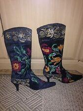 Boots Size 5 Kitten Heel Black Embroidered Zip U Back