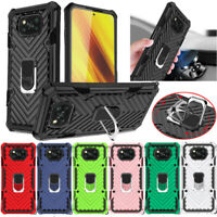For Xiaomi Poco X3 NFC Redmi 9A Note 9 8 Pro Rugged Armor Ring Stand Case Cover