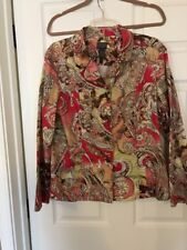 ADDITIONS by Chico's Long Sleeve Jacket Multi-color Paisley chicos sz 3