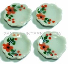 Set of 4 Dollhouse Miniature Ceramic Plates * Doll Mini Food Dish Kitchen Plate