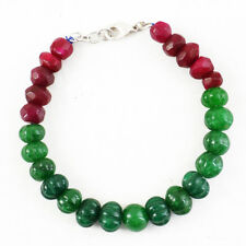 207.00 Cts Earth Mined Red Ruby & Green Emerald Round Carved Beads Bracelet