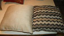 Pair of Brown Beige Flamestitch Print Decorative Pillows  18 x 18