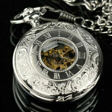 Pacifistor Mens Mechanical Pocket Watch Double Hunter Antique Style Silver Steel