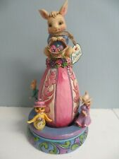"""New ListingJim Shore Easter Figurine Tall 9,"""" Bunny/Moveable Characters """"Excited for Easter"""